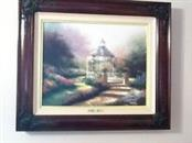 THOMAS KINKADE Print HIDDEN GAZEBO S/N LITHOGRAPH FRAMED